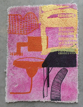 Freya Goodwin – Wool carpet and printmaking sample, 2019